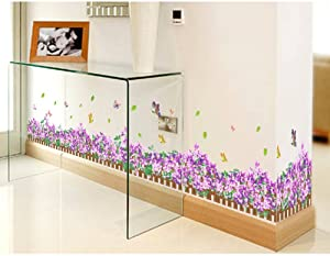 BIBITIME Garden Fence Border Decorative Purple Flower Wall Decals Butterfly Vinyl Skirting Sticker for Living Room Wallpaper Kitchen Bathroom Shop Showcase Window DIY