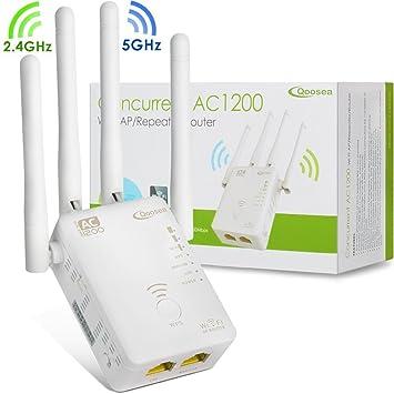 Qoosea WiFi Amplificador AC1200 Dual Band Repetidor/Punto de Acceso Inalámbrico/Router Externo 4