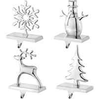 Christmas Stocking Holders for Mantel Set of 4 Reindeer Snowflake Snowman Pine Tree Vintage Metal Standing Stocking Hook…