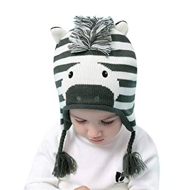 405623ed686 BAVST Baby Boys Girls Knit Hats Earflap Infant Winter Caps Cute Zebra  Toddler Cotton Beanies Cute