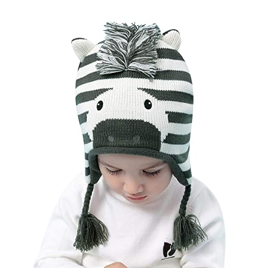 2509bd17888 BAVST Baby Boys Girls Knit Hats Earflap Infant Winter Caps Cute Zebra  Toddler Cotton Beanies Cute