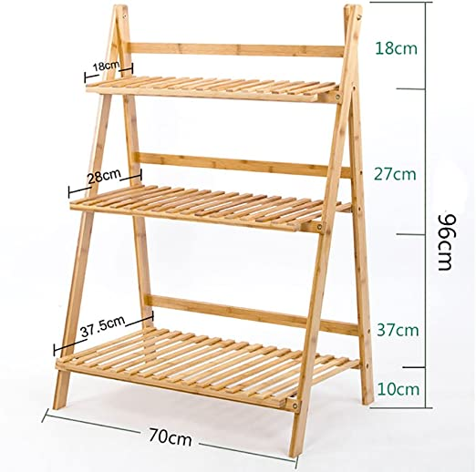 Macetas para flores estante Escaleras para estanterías Jardín de interior Macetas de hierbas Vitrina plegable de bambú (opciones de tamaño múltiple) Racks de flores (Tamaño : 70*96cm) : Amazon.es: Hogar
