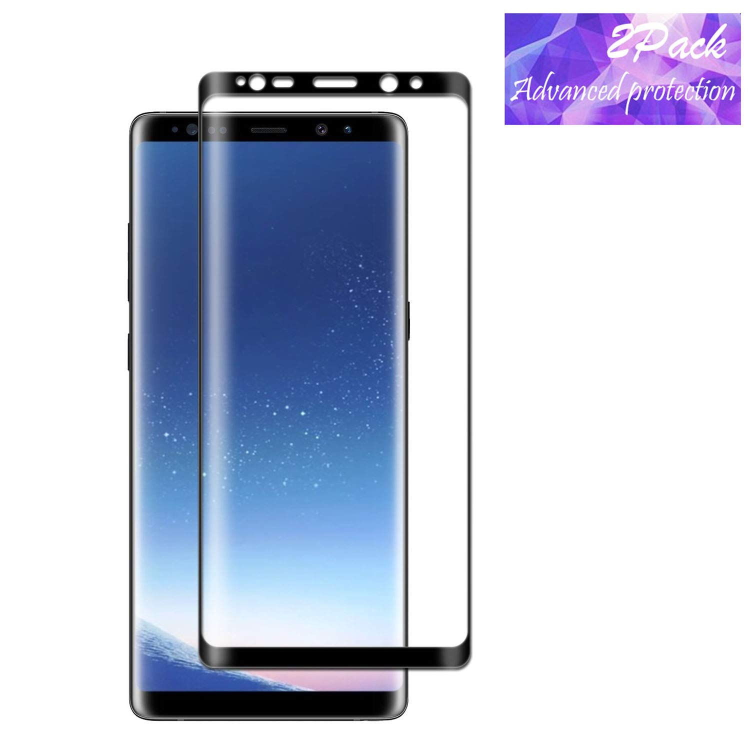 Galaxy Note 8 Screen Protector, LEDitBe[2-Pack][Case Friendly][Anti Scratch][Anti-Bubble]3D cured Premium Tempered Glass Screen Protector for Samsung Galaxy Note 8[black]