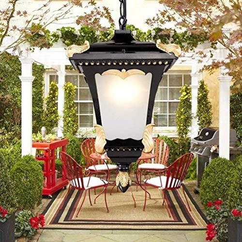 YAYONG Pendant Light Outdoor Waterproof Glass Lamp Ceiling Lamps Chandelier Decoration Garden Lamp Villa Balcony,Black,75x11cm