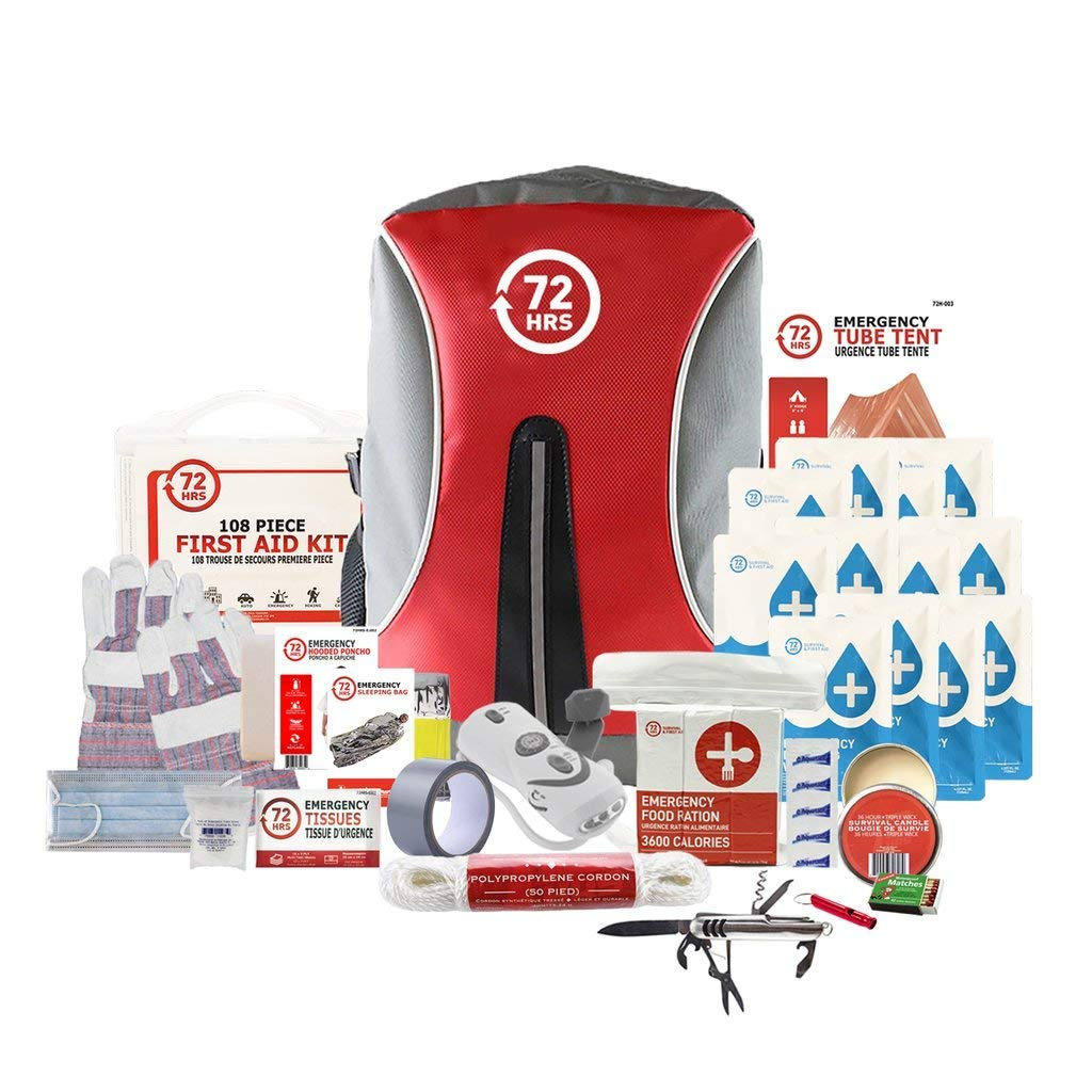 72HRS Earthquake Preparedness Kit, Emergency Kit, Survival Kit for 1 Person - 72 Hours Backpack Deluxe Kit by 72HRS