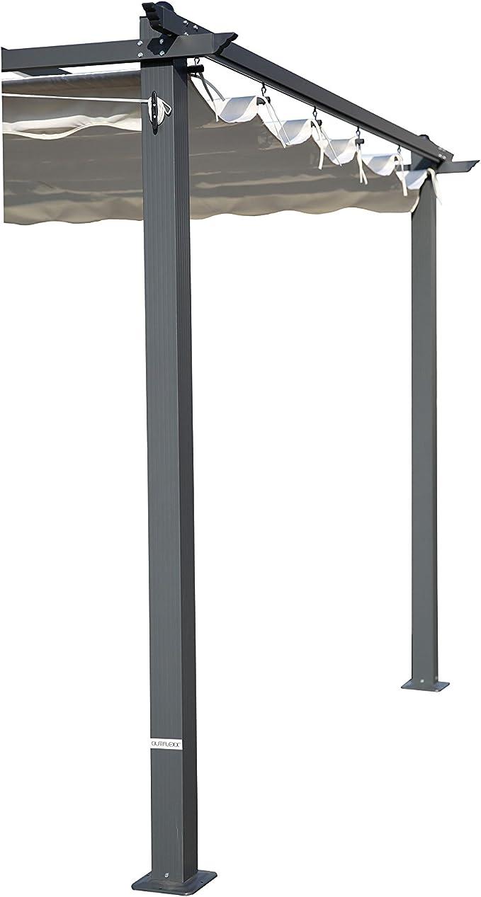 Outflexx Pergola gris aluminio, color crema, 300 x 300 x 20 cm ...