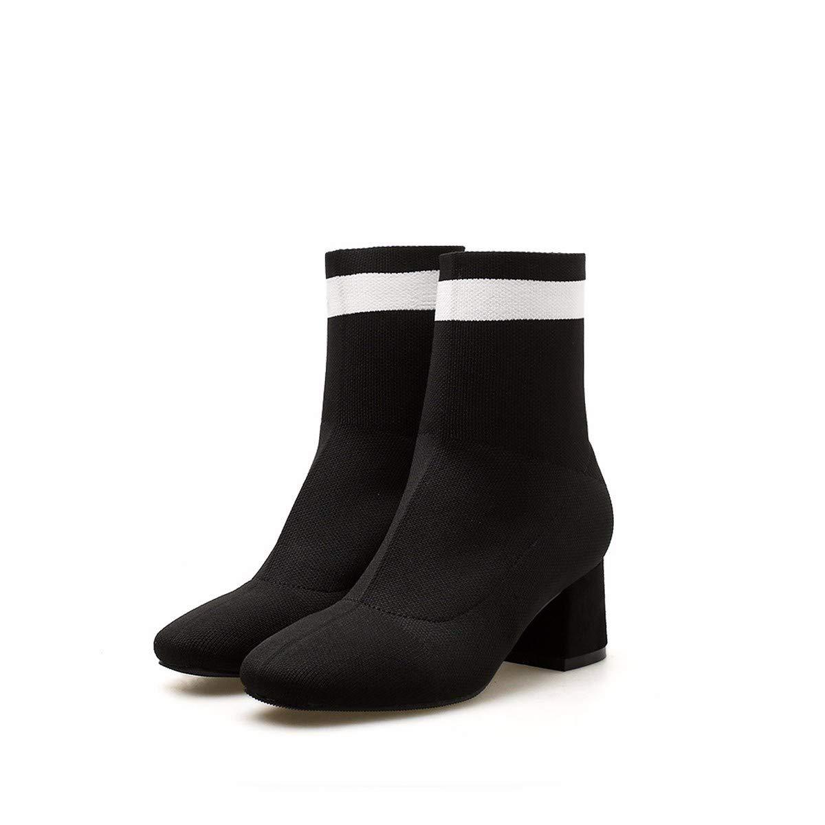 LBTSQ-Mode Damenschuhe Kurze Stiefel Martin Stiefel Mit Hohen 5Cm - Tube Wies Kopf Dicke Sohle Aus Gewirken Dünn Stiefel Elastische Strümpfe Stiefel.