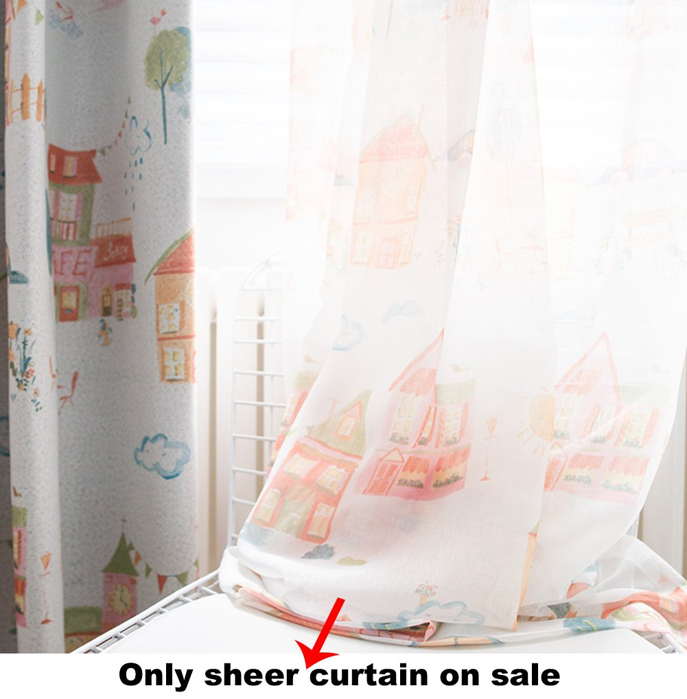 ASide BSide Warm Houses Printed Rod Pocket Top Lounge Type Sheer Curtains Transparent Window Decoration For Houseroom Sitting Room and Child Room (1 Panel, W 52 x L 63 inch, White)