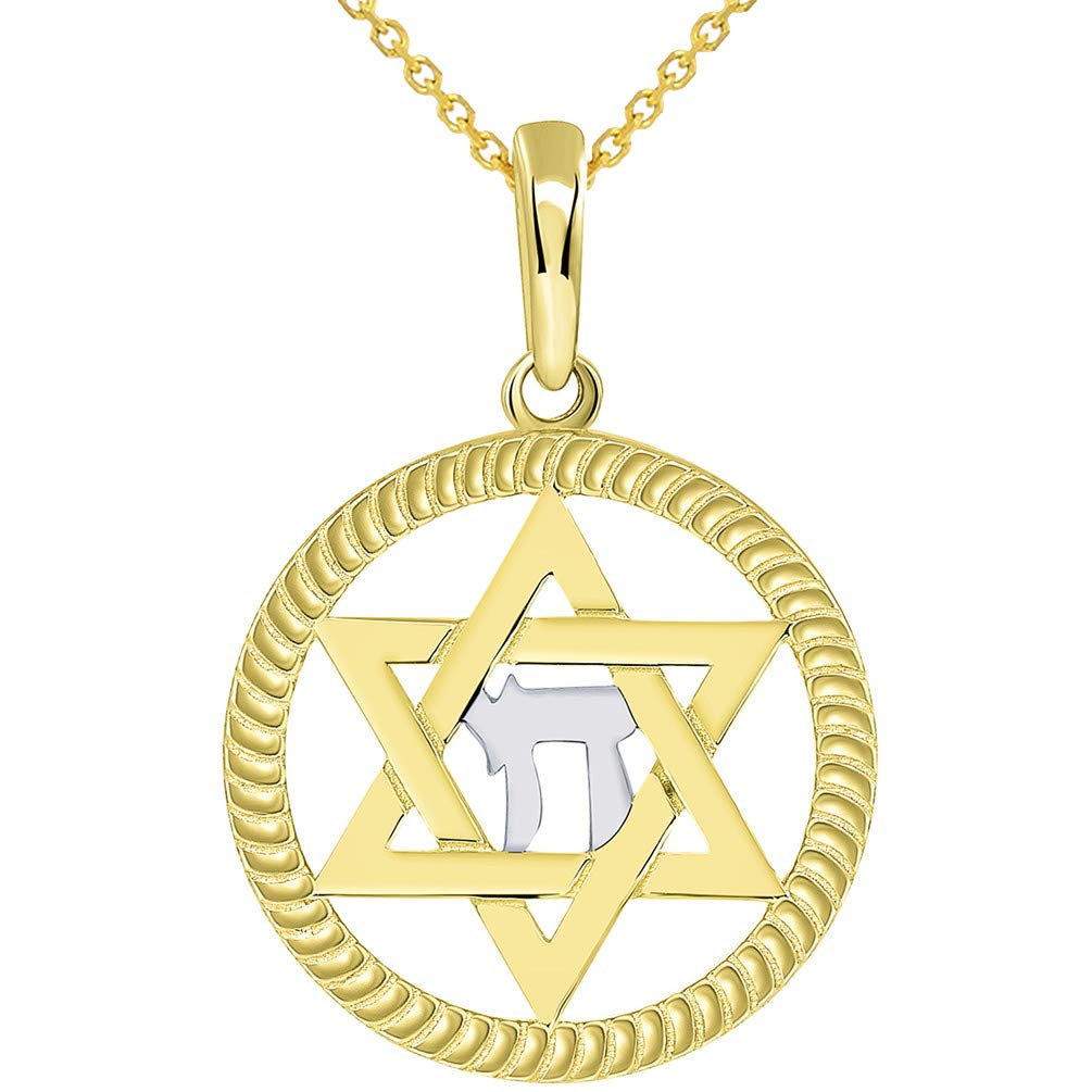 14k Yellow Gold Round Rope Style Jewish Star of David with Chai Symbol Pendant Necklace