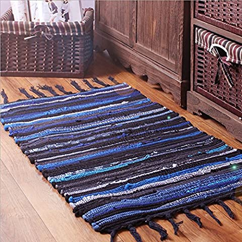 HomDSim 27x46 inch Handmade Cotton Area Bath Rag Rugs Heavy Woven Stripe Mat Carpet with Tassels for Laundry Room Kitchen Bathroom Livingroom Hallway Bedroom Washable with Non-Slip Pad (Blue Theme Room)