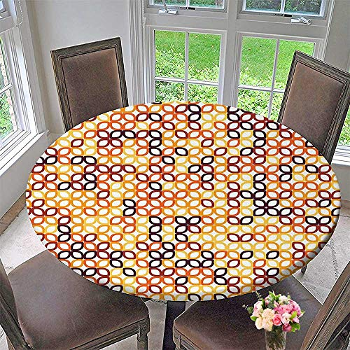 """Luxury round table cloth for home use Complex Structured Geometric Petal Pattern with Colorful Chained Line Grid Modular Illustration for Buffet Table, Holiday Dinner 43.5""""-47.5""""Round (Elastic Edge)"""