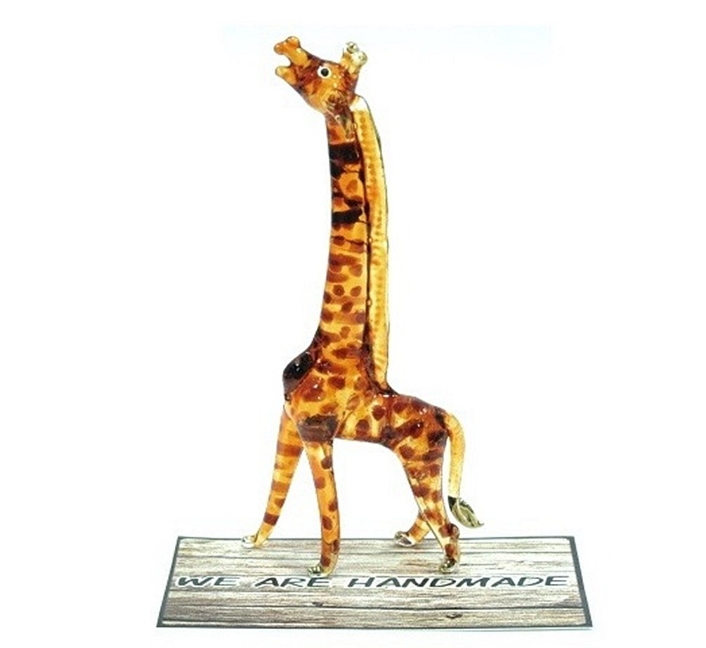 Handmade Giraffe Art Glass Blown Wild Animal Figurine - No.2
