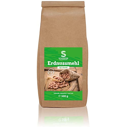 Bio Erdnussmehl Teil-Entölt | Glutenfreie Weizenmehl-Alternative | Pflanzliche Proteinquelle | 50 % Eiweiß | Low Carb | Lactosefrei | Veganes Eiweißpulver | 500g