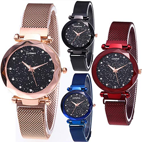 yunanwa 4 Pack Women Ladies Watches, Starry Sky Magnet Buckle Dial Diamond Cutting Mesh Brand Straps Bracelet Wristwatch (Starry Watches Style B)