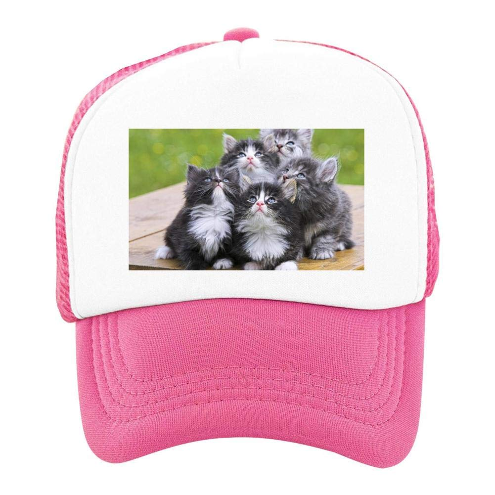 Kids Girls Boys Mesh Cap Trucker Hats Cat Adjustable Hat Pink