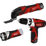 Einhell TE-TK 12 Li Set d'outils 12 V, 2 batteries lithium-ion, chargeur, visseuse avec embouts, outil multifonction avec feuilles abrasives, lame et spatule, lampe à LED