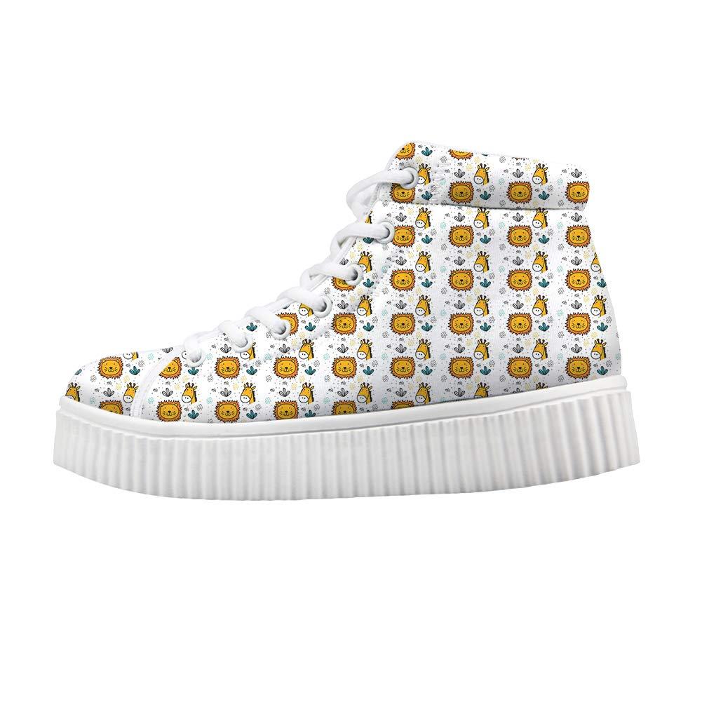 Platform Lace up Sneaker Casual Chunky Walking Shoe Women Cactus Lovely Lion Giraffe Heads