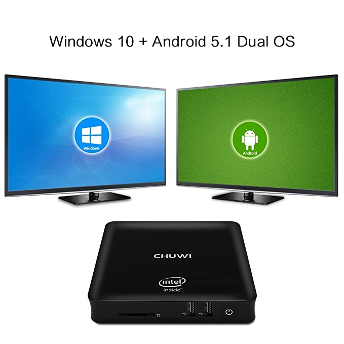 CHUWI Hibox Mini PC Inteligente RAM 4GB+ROM 64GB Quad Core 1,44GHz Intel Z8350 Android 5.1 + Window 10 Dual OS WiFi Color Negro
