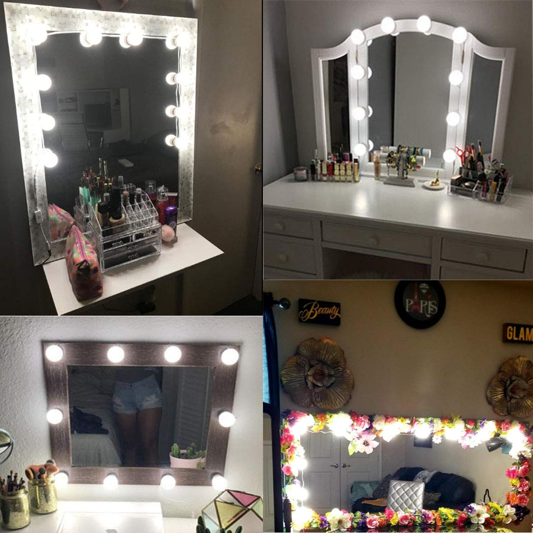 AIBOO Hollywood Style Lighted Vanity Makeup Mirror, LED Vanity Mirror Lights Kit for Dressing Table, Dimmable and Adapter Plug in, Mirror Not Included (16 Bulbs Natural White) by AIBOO (Image #7)