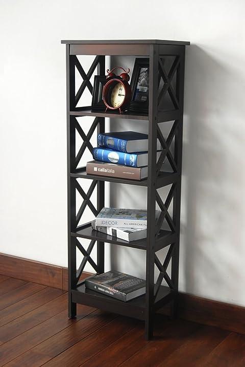 Amazon.com: 5-tier Espresso Wood Bookshelf Bookcase Display Media ...