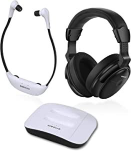 SIMOLIO Digital 2.4GHz Dual Wireless TV Headphones w/100ft Long-Distance, Hearing Protection Wireless Headphone for TV Watching, TV Hearing Assistance Device for Seniors and Hard of Hearing