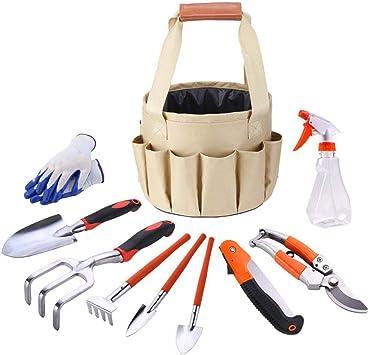 Juego de herramientas de jardín de 9 piezas, herramientas de jardinería con guantes de jardín y bolsa de jardín - Juego de herramientas de regalos de jardinería: Amazon.es: Bricolaje y herramientas