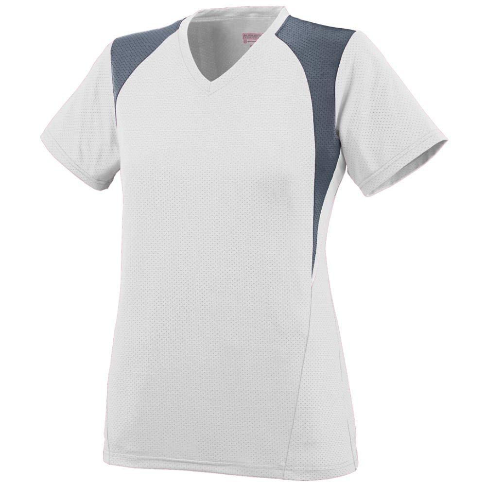 Augusta Sportswear 1296 Girls' Mystic Jersey, Small, White/Graphite/White by Augusta Sportswear