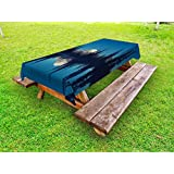 fan products of Lunarable National Parks Outdoor Tablecloth, Mountain Night Mystic Hiking Climbing Calm Washington Countryside Rustic, Decorative Washable Picnic Table Cloth, 58 X 120 Inches, Dark Blue