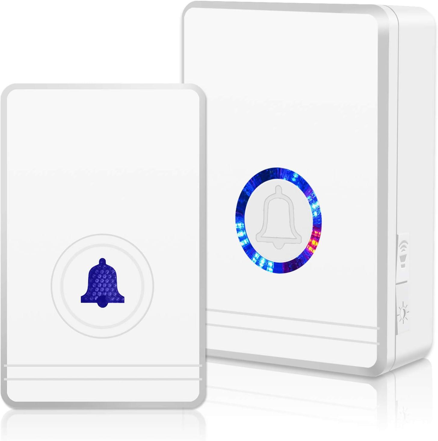 GREENCYCLE 1 Set Wireless Doorbell Door Open Chime, 1312ft Long Range, Adjustable Volume 48 Chimes with LED Flash Door Chime, IP 66 Waterproof Doorbell Button for Home Classroom Office Business