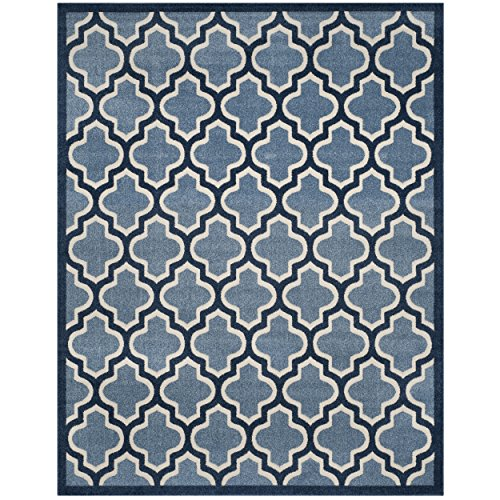 Safavieh Amherst Collection AMT420Q Light Blue and Navy Indoor/ Outdoor Area Rug (9' x 12')