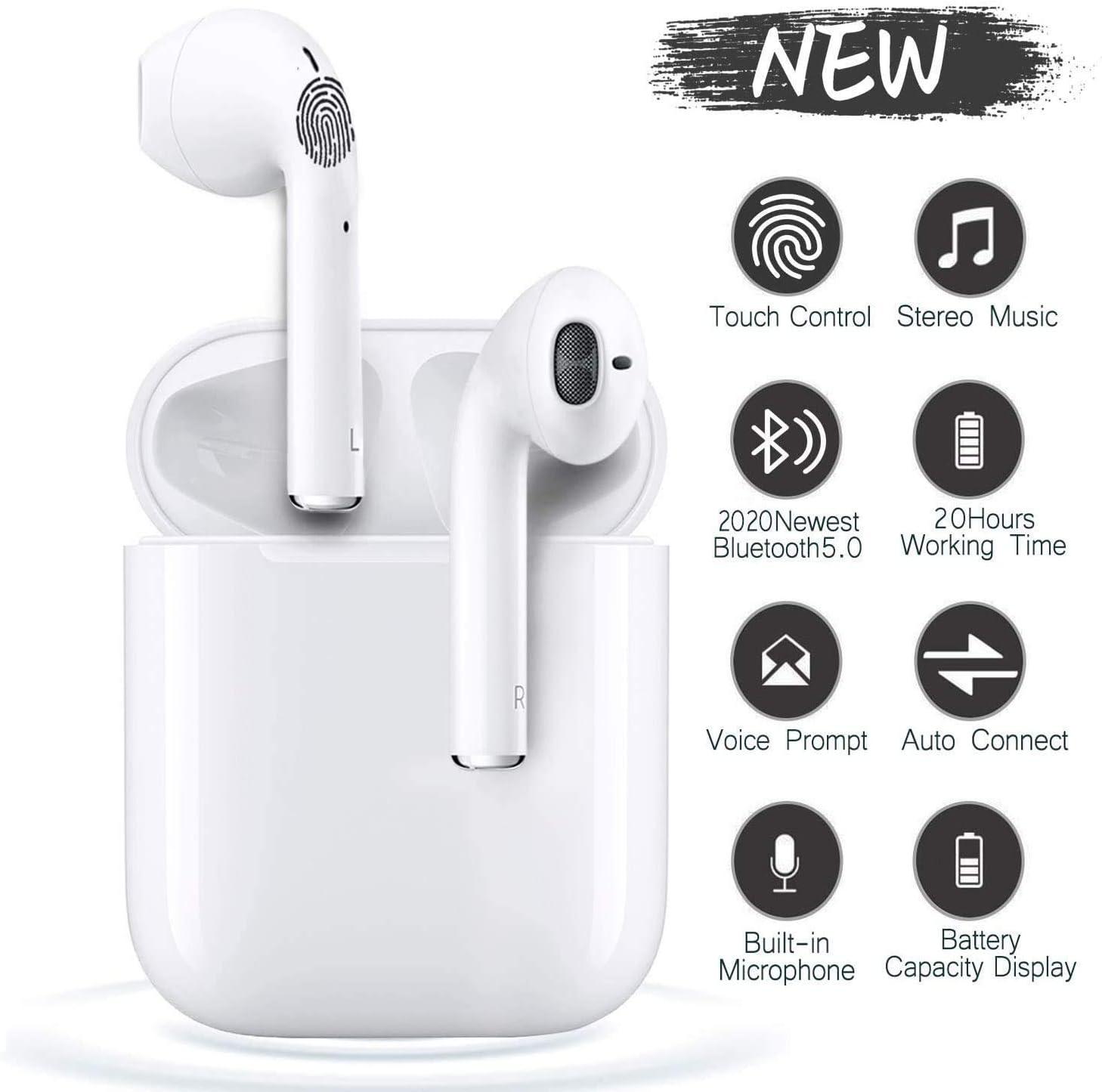 i12 - TWS Auriculares Bluetooth 5.0, Toque Inteligente Auriculares inalámbricos, Auriculares deportivos impermeables IPX7, Auriculares estéreo 3D-HIFI, Emparejamiento emergente automático - Blanco