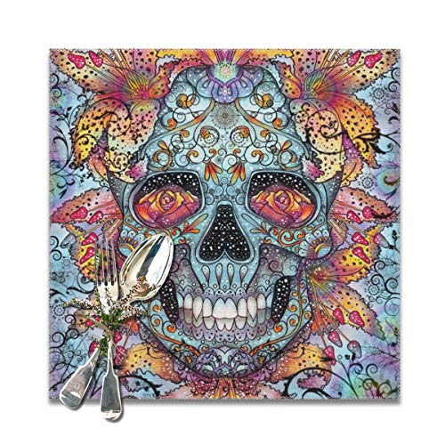 Because Trippy Skull Placemats,Heat-Resistant Washable Cotton Placemats,Polyester Linen Dining Table Mats for Kitchen,Set of 6