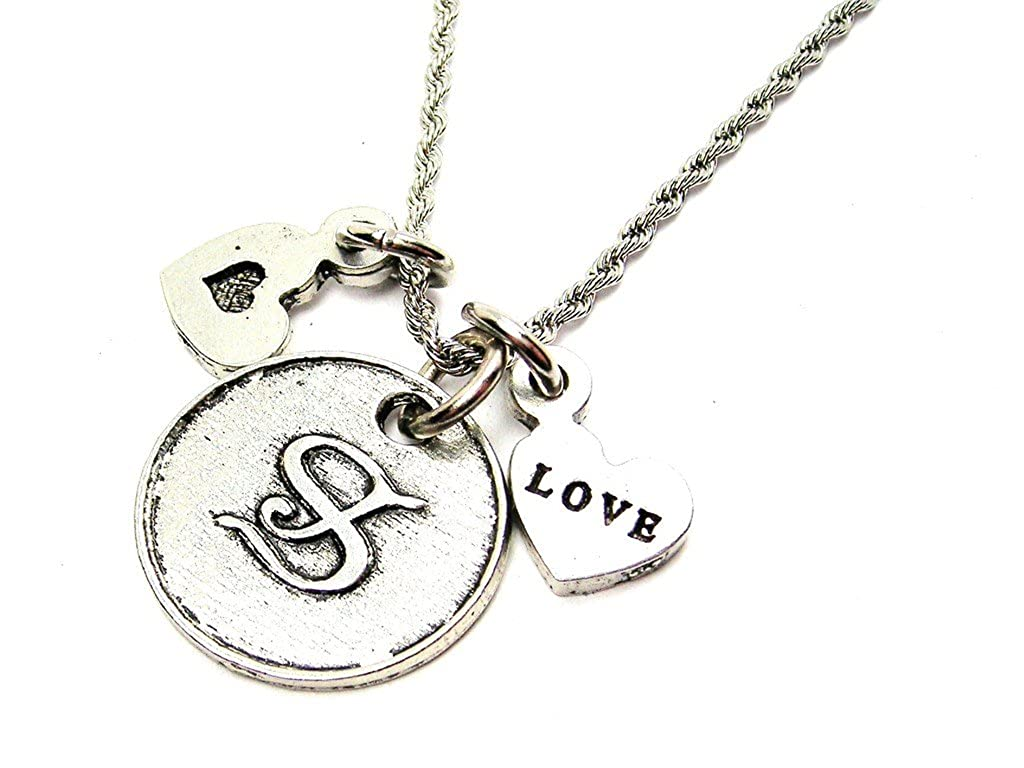 Chubby Chico Charms Initial H Circle 20 Stainless Steel Rope Chain Necklace