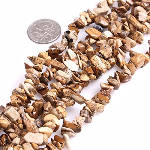 Joe Foreman 6-8mm Picture Jasper Beads Natural Stone Gravel Gemstone Chips Beads Loose Beads For Jewelry Making Freeform Yellow Brown (Brown Jasper Bead)