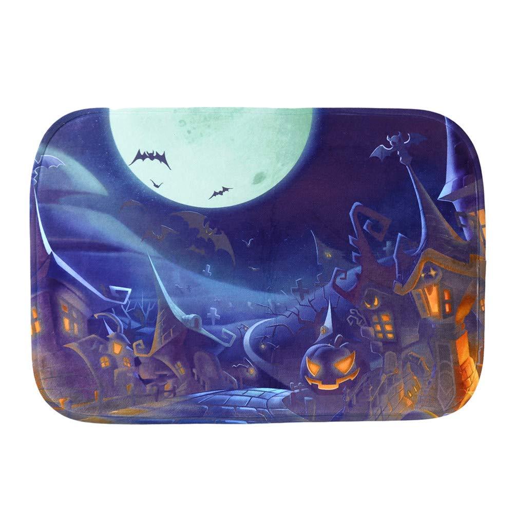 Flybloom Halloween Theme Carpet Pad Flannel Floor Door Mat Bathroom Bath Rug,Green Witch