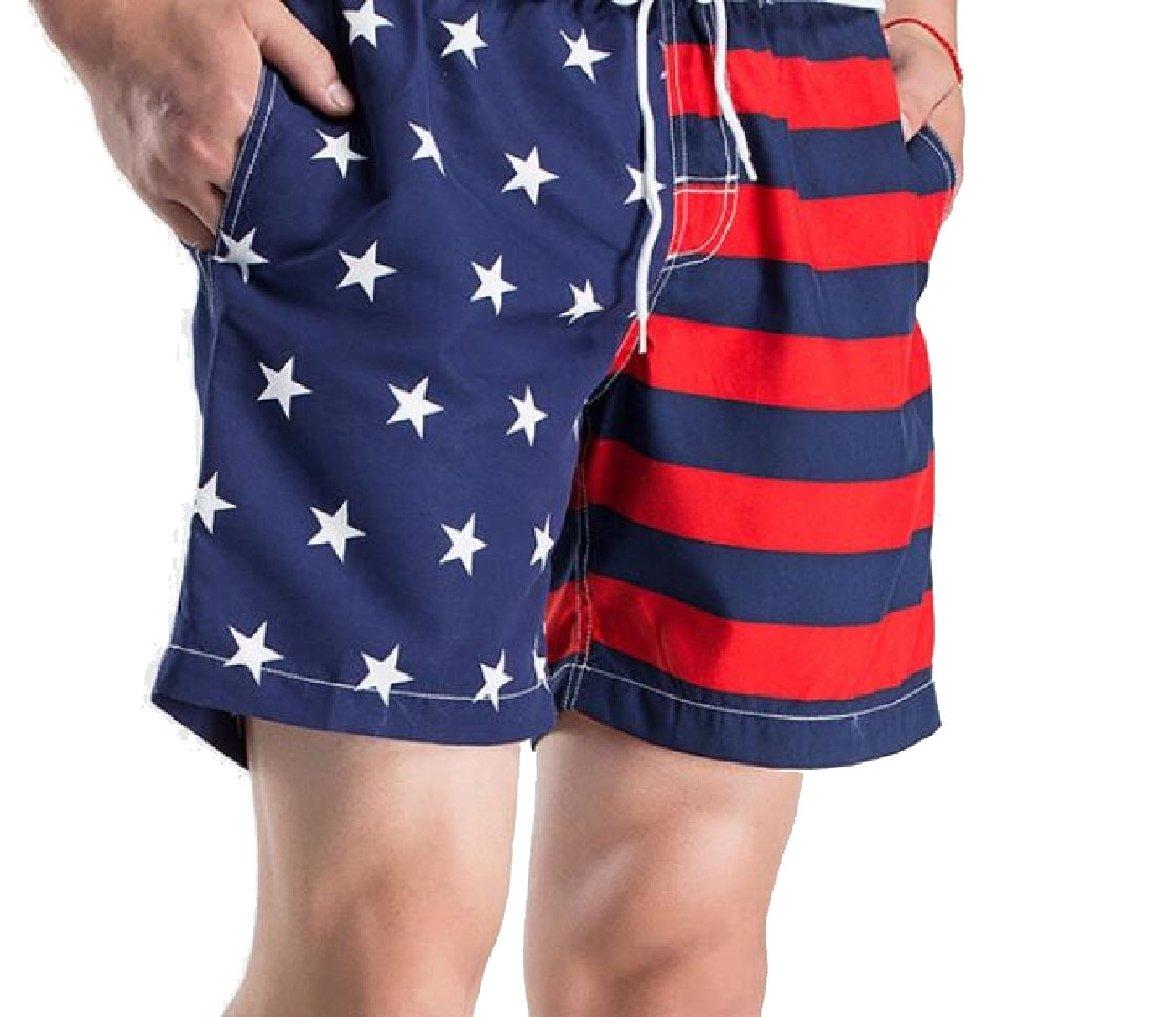 LEISHOP Mens Elastic Waist Beach Wear Striped US Flag Print Shorts