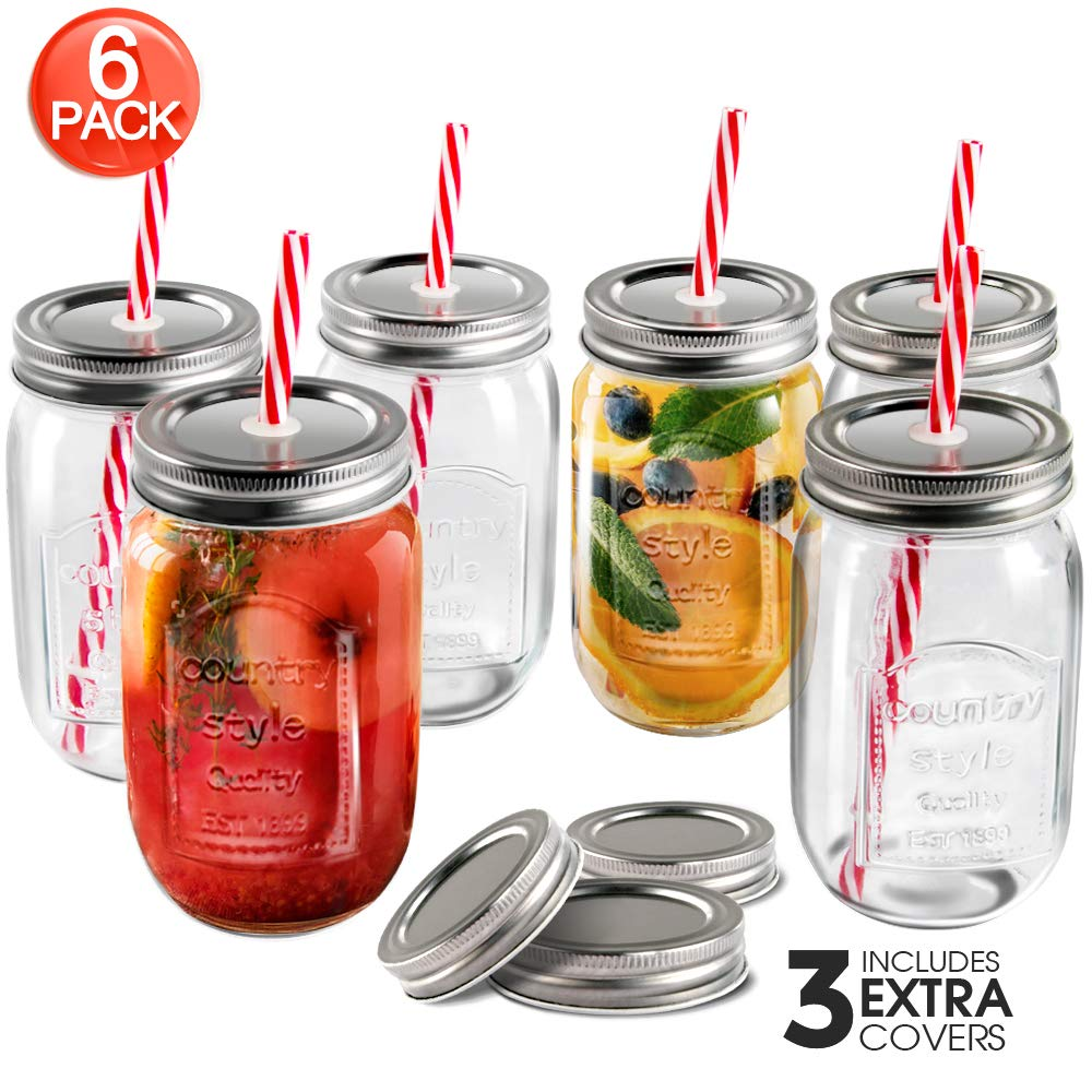 Mastertop 6 Pcs 16.9 Ounce Mason Drinking Jars with Lids  Recycled Glass Bottles and Drinking Straws with 3 Extra Sealing Lid by Mastertop (Image #1)