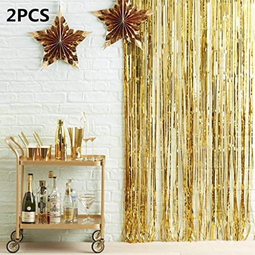 High Quality FindFun 2PCS Metallic 3 Ft X 8 Gold Backdrop Foil Fringe