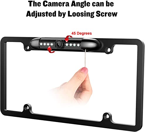 License Plate Frame Backup camera Car Rear view Waterproof 8 Infrared LED High Sensitive Night Vision Wide Viewing Angle 175 License Metal Frame US Plate Camera Universal Reversing Parking Aid System