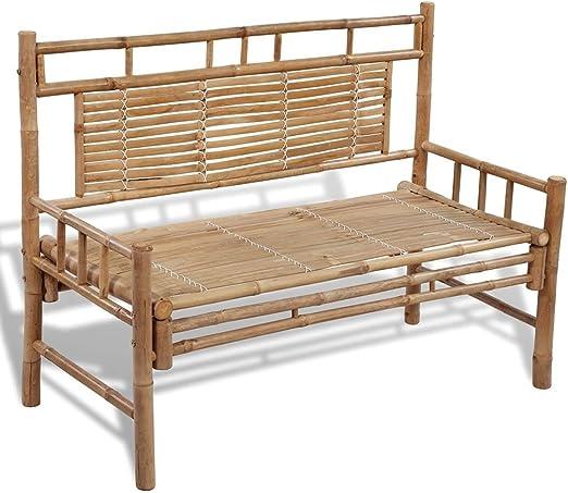 vidaXL Bambú Banco Plegable con Respaldo Mueble Jardín Patio Asiento Terraza: Amazon.es: Jardín