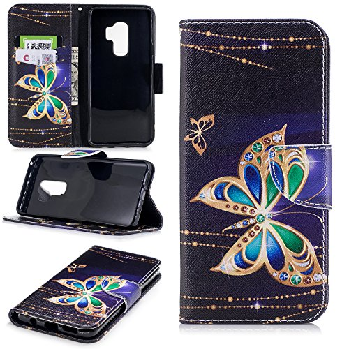 - Galaxy S9 Plus Case, UZER Painted Pattern Shockproof [Kickstand Feature] Premium PU Leather Folio Flip Wallet Case with Cash/Card Slots and Magnetic Clasp Case for Samsung Galaxy S9 Plus 2018 Model