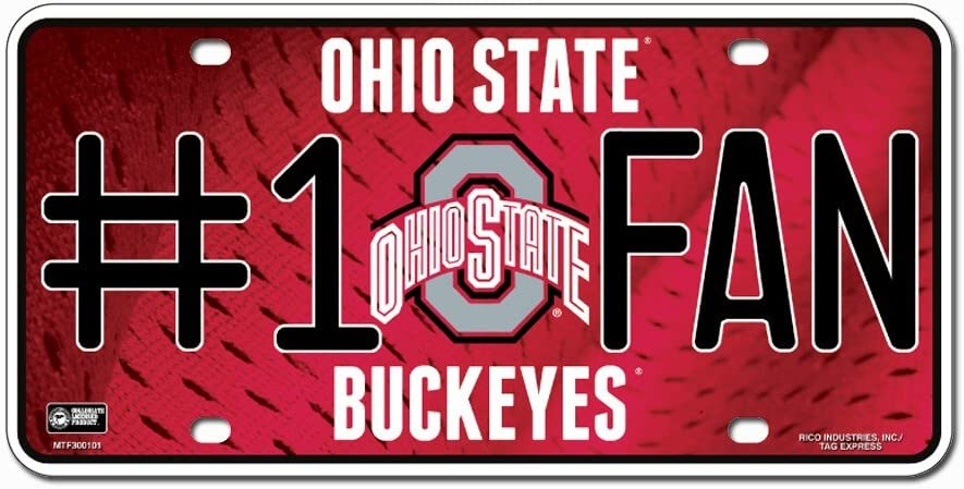 Ohio State Buckeyes NCAA Rico Industries #1 Fan Metal License Plate Tag