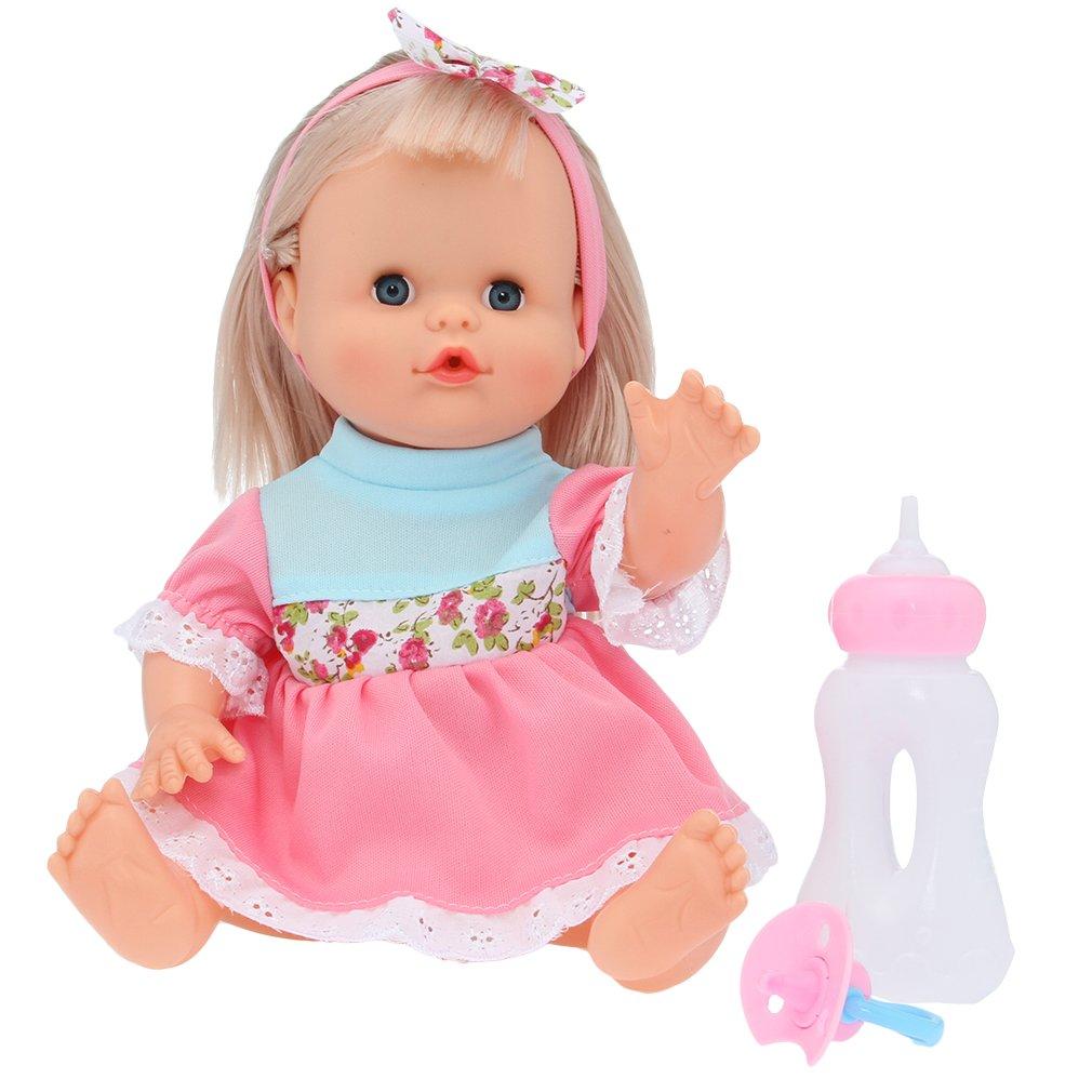 EOZY-Bambola Fiocco Simulazione Suoni con Biberon Bambolotti per Bambini Ragazzi