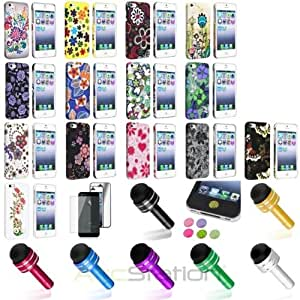 XMAS SALE!!! Hot new 2014 model Flower Stylish Hard Rubber Case+Pen+Full Body Mirror SP+Sticker For iPhone 5 5SCHOOSE COLOR