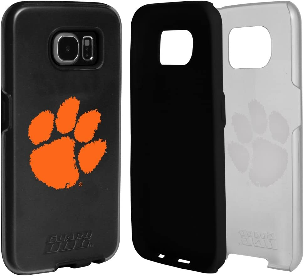 Guard Dog Clemson Tigers Clear Hybrid Case for Samsung Galaxy S7 with Black Insert and Guard Glass Screen Protector
