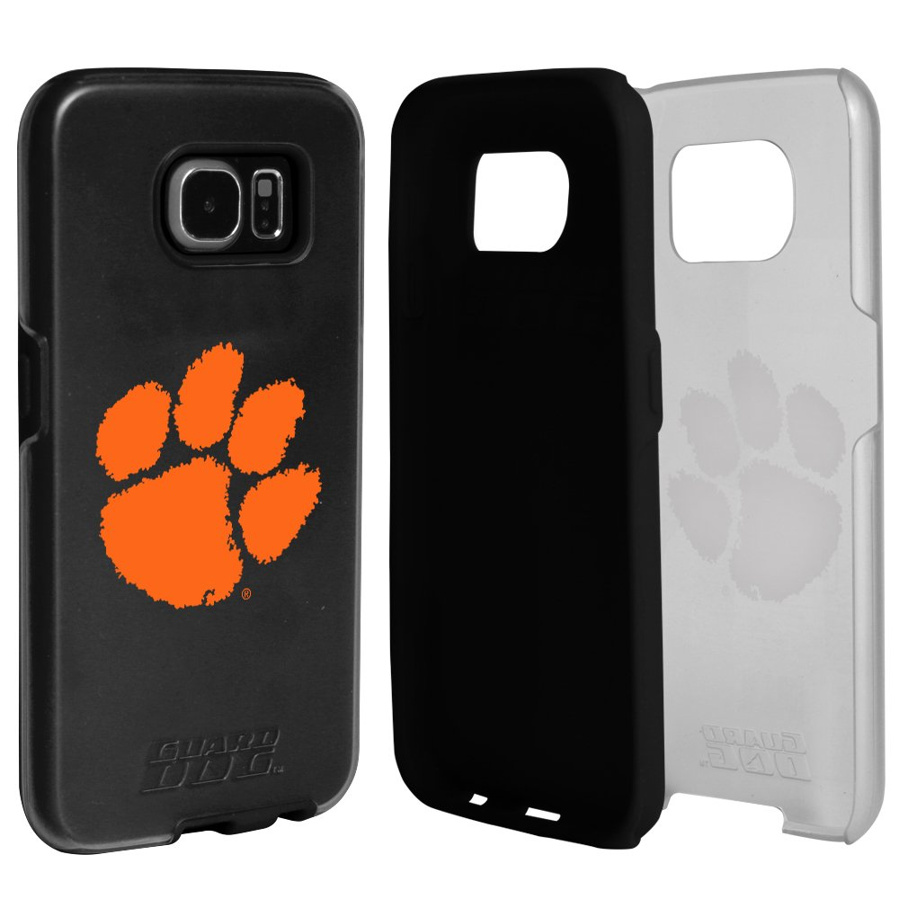 Clemson Tigers Clear Hybrid Case for Samsung Galaxy S7 with Black Insert and Guard Glass Screen Protector