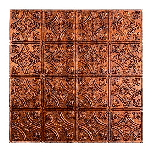 Fasade Easy Installation Traditional 1 Moonstone Copper Lay In Ceiling Tile/Ceiling Panel (2' x 2' Tile) by Fasade