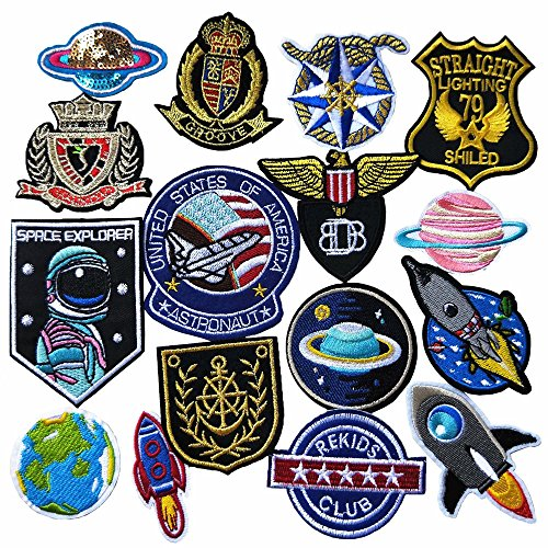 Mosheng Accessory 16pcs Planet Rocket Patches Mix Patterns Iron On/Sew On DIY Embroidery Applique for Clothes Backpacks T-Shirt Jeans Skirt Vests Scarf Hat Bag (Style 14)