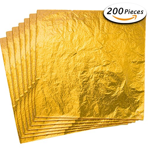 Paxcoo 200 Sheets Imitation Gold Leaf Foil Paper for Arts, Gilding Crafting, Decoration, 5.5 by 5.5 (Gold Foil Paper)