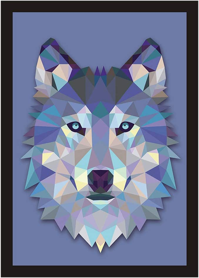 "Unframed Colorblock Geometric Pattern Wolf Print Wall Art Décor,Animal Wolf Wall décor Canvas for Office, Blue Wolf Canvas Print, Wolf Picture Oil Painting Wall Mural for Living Room. (12"" x 16"")"